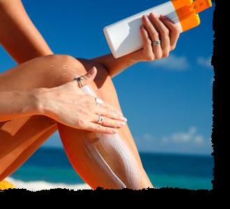 woman putting on Sunscreen cream